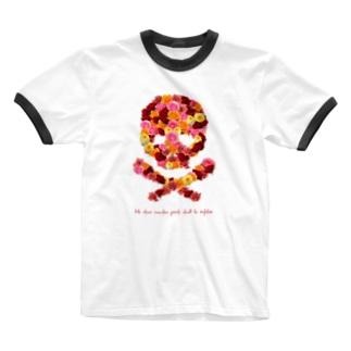 フラワードクロ(レッド) Ringer T-shirts