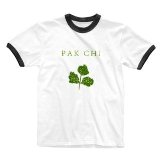 パクチー Ringer T-shirts