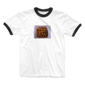 卍納豆 Ringer T-shirts