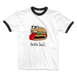べろりんバーガー Ringer T-shirts