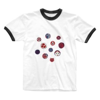 【日本レトロ#24】おはじき Ringer T-shirts