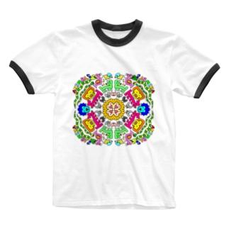 アニマル マンダラ Ringer T-shirts