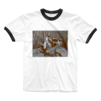 ヤンキーバイク乗りの女 Ringer T-shirts