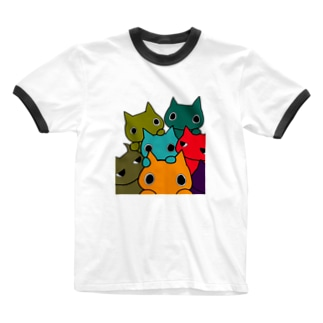 POPねこ集合 Ringer T-shirts