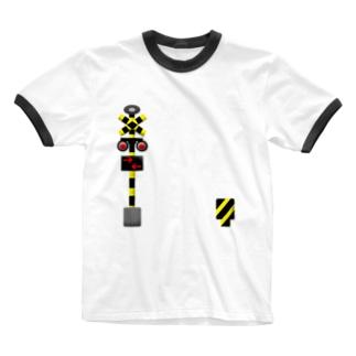 あそべる踏切 Ringer T-shirts
