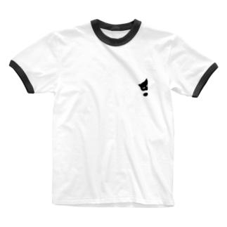 クロネコひょっこりはん Ringer T-shirts