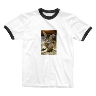 子猫シグレ Ringer T-shirts