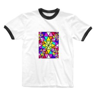 みにゃ次郎のステンドグラス Ringer T-shirts