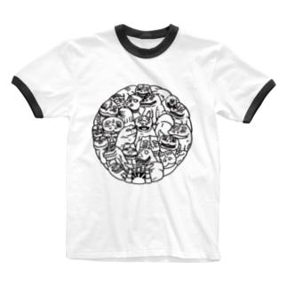 「照」パターン肥前狛犬 Ringer T-shirts