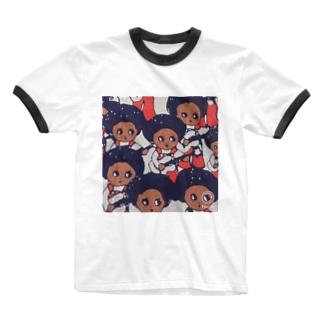 ギターガール Ringer T-shirts