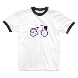 自転車デザイン「ママチャリ」 Ringer T-shirts