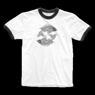 ツバメ堂の壷屋焼風双魚文 Ringer T-shirts