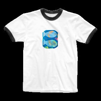 Mika Nomuraの魚くんこんにちは Ringer T-shirts