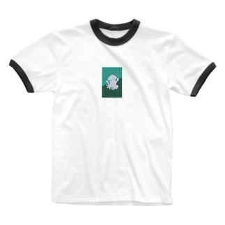 イカハッピー Ringer T-shirts