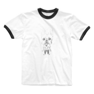 生真面目ボストンテリアくん Ringer T-shirts