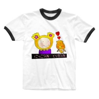 にっこSUNととり吉SUN ぬりえver Ringer T-shirts