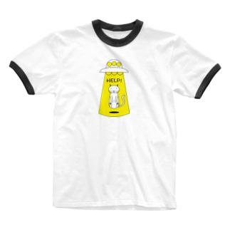 HELP猫 Ringer T-shirts