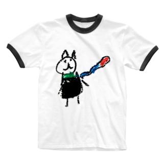 娘マフちゃん Ringer T-shirts