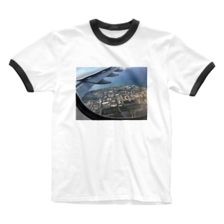 NATSUKO-SHOPの飛行機の窓から Ringer T-shirts