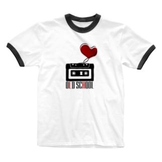 無彩色デザイン販売所のCompact Cassette / Old School Ringer T-shirts