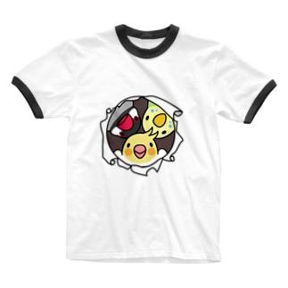 なかよしインコ【まめるりはことり】 Ringer T-shirts