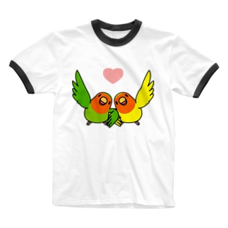 ハイタッチなかよしコザクラインコ【まめるりはことり】 Ringer T-shirts