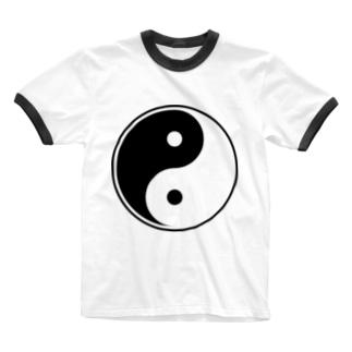 陰陽(黒) Ringer T-shirts