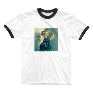 夕暮れと芍薬のドライフラワー Ringer T-shirts