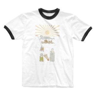 ラッコ+仏像 Ringer T-shirts