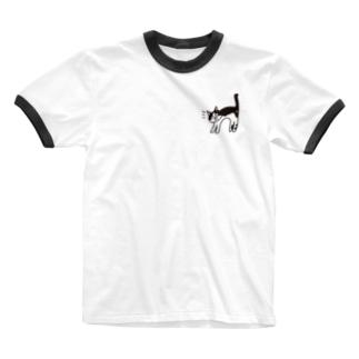 ハチワレ (白ベタなし) Ringer T-shirts