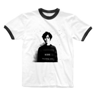 極楽蝶 watching you tシャツ Ringer T-shirts