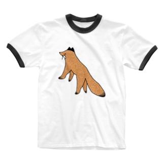 キタキツネさん Ringer T-shirts
