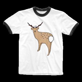 chîcaのエゾシカさん Ringer T-shirts