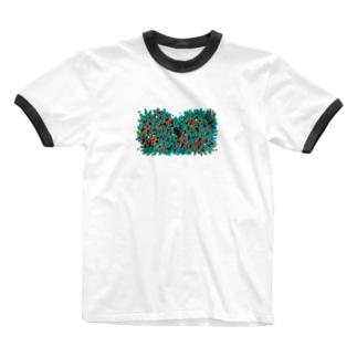 隠れんぼ鳥 Ringer T-shirts