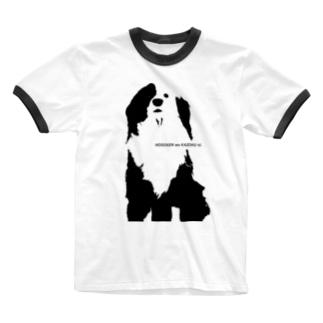 片パンダのボーダーコリーMIX Ringer T-shirts
