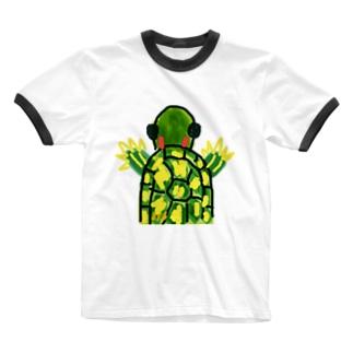 アカミミガメ Ringer T-shirts