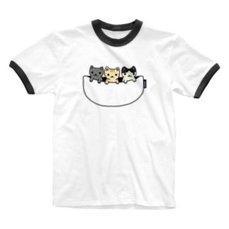 猫たち専用ポケット Ringer T-shirts