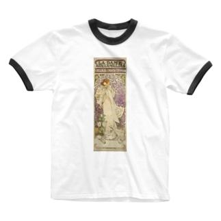「LA. DAME. / AUX. CAMELIAS / SARAH BERNHARDT」  Mucha, Alphonse/Paris Musées Ringer T-shirts