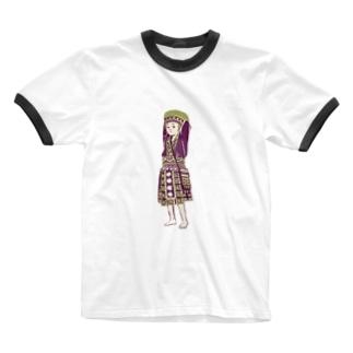 【タイの人々】モン族の女の子 Ringer T-shirts