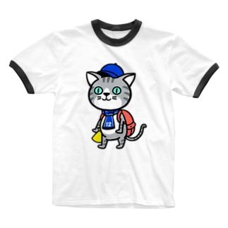 にゃんサポ Ringer T-shirts