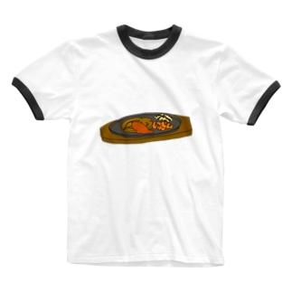 鉄板ステーキ Ringer T-shirts