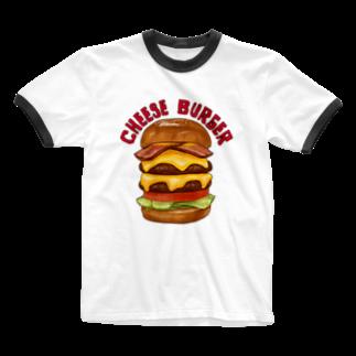 すとろべりーガムFactoryのチーズバーガー Ringer T-shirts