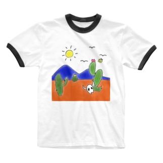 クマバチとメキシカンタイル Ringer T-shirts