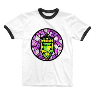 ななほしきんかめステンドグラス風 Ringer T-shirts