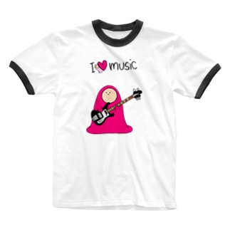 I LOVE MUSIC - アイラヴミュージック エレクトリックベースVer.  Ringer T-shirts