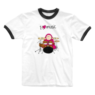 I LOVE MUSIC - アイラヴミュージック ドラムVer. Ringer T-shirts