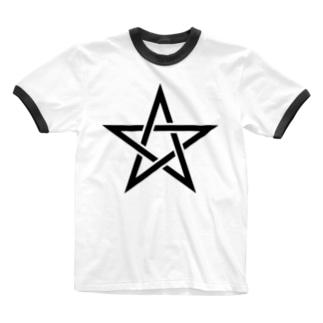 風天工房の五芒星(黒) Ringer T-shirts