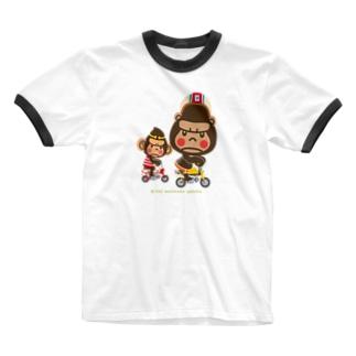 """ぽっこりゴリラ""""Motor cycle -  gorilla & monkey"""" Ringer T-shirts"""