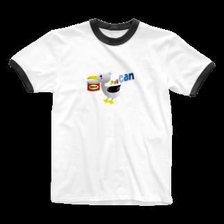 似顔絵 KURI屋のペリ缶 Ringer T-shirts