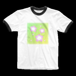しる猫☆ミ雑貨店の桜 Ringer T-shirts